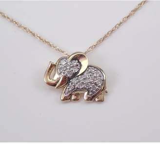 "Margolin & Co 14K White Gold Diamond ELEPHANT Pendant Necklace Chain 18"" Good Luck Animal Jewelry"