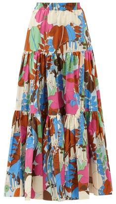 La DoubleJ Big Skirt Floral-print Cotton-poplin Maxi Skirt - Pink Multi