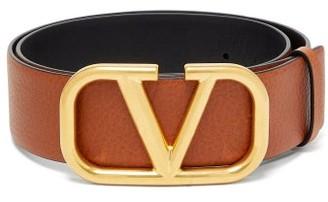 Valentino V-logo Leather Belt - Tan