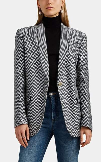 Giorgio Armani Women's Chevron Knit One-Button Blazer - Gray