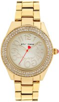 Betsey Johnson Boxed Double Row Crystal Gold Bracelet Watch