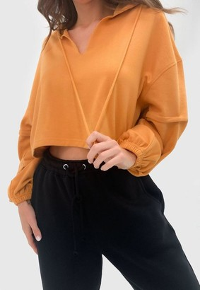 Missguided Notch Neck Balloon Sleeve Cropped Hoodie
