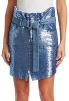 IRO Natou Belted Sequin Mini Skirt