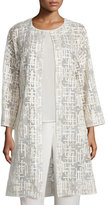 Neiman Marcus Embroidered Mesh and Crepe Topper Coat