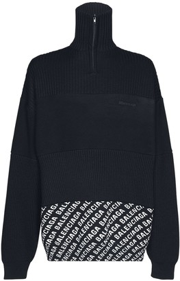 Balenciaga Rib Knit Wool Fleece & Jacquard Sweater