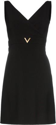 Valentino V-neck wool a-line mini dress