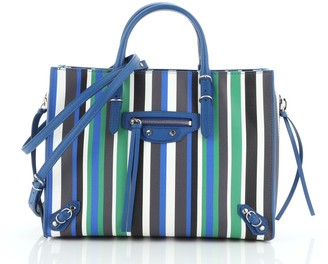Balenciaga Papier A4 Zip Around Classic Studs Bag Striped Leather Mini