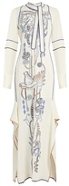 Peter Pilotto Neck-tie embroidered cady maxi dress