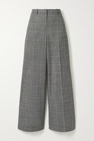 Theory Prince Of Wales Checked Wool-blend Wide-leg Pants - Black
