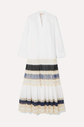 Tory Burch Lace-trimmed Tiered Cotton-poplin Maxi Dress - White