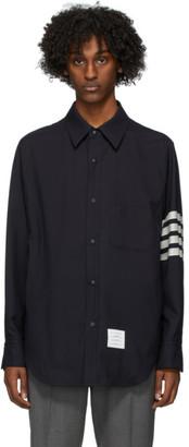 Thom Browne Navy Snap Front 4-Bar Jacket