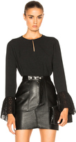 Saint Laurent Crepe Blouse with Eyelet Sleeves