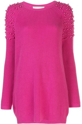 Mason by Michelle Mason Pearl Embellished Jumper Dress