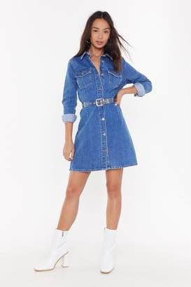 Nasty Gal Womens Whatever You're Button Through Denim Dress - blue - 6