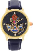 Betsey Johnson Watch, Women's Navy Blue Patent Leather Strap 41mm BJ00210-01