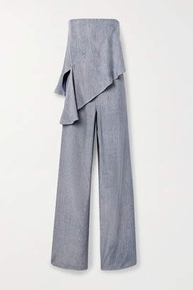 Cushnie Strapless Draped Printed Silk-charmeuse Jumpsuit - Blue