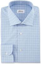 Brioni Box Check Dress Shirt, Blue