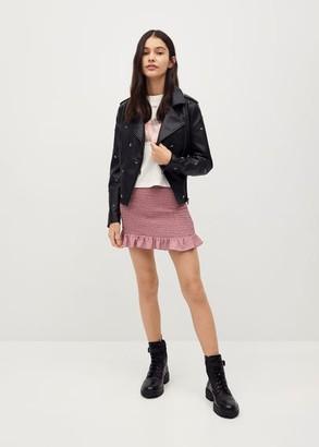 MANGO Short pleated skirt