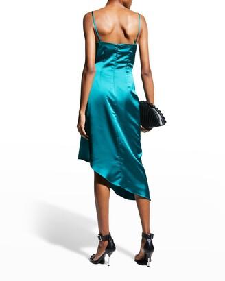 Halston Nuri Cowl-Neck Asymmetric Satin Dress