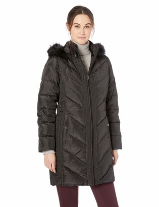 Larry Levine Women's Long Down Coat with Side Tabs and Hood