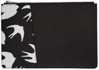 McQ Black and White Swallow Tablet Pouch