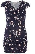 **Maternity Navy Floral Cap Sleeve Ruched wrap top