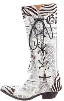 John Galliano Newspaper Ponyhair-Trim Boots