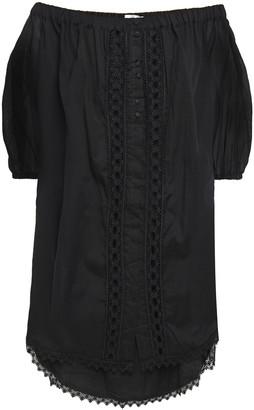 Charo Ruiz Ibiza Crocheted Lace-trimmed Cotton-blend Voile Mini Dress
