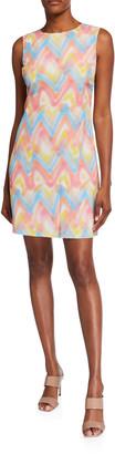 M Missoni Zig Zag Spray Paint Sleeveless Shift Dress