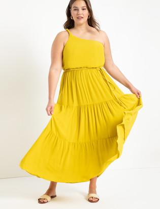 ELOQUII One Shoulder Belted Dress