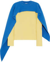 J.W.Anderson Cape-effect Two-tone Wool And Cashmere-blend Sweater - Pastel yellow