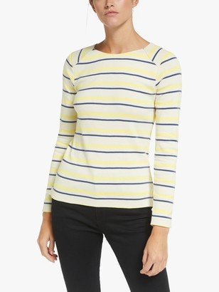 Collection WEEKEND by John Lewis Zip Back Stripe Breton, Navy/Ivory/Yellow