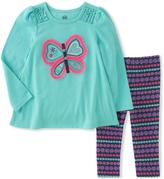 Kids Headquarters Aqua Butterfly Tunic & Floral Leggings - Infant, Toddler & Girls