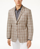 Tasso Elba Men's Classic-Fit Textured Plaid Linen Sport Coat, Created for Macy's