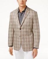 Tasso Elba Men's Classic-Fit Textured Plaid Linen Sport Coat, Only at Macy's