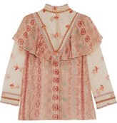 Anna Sui Metallic-Trimmed Printed Fil Coupé Chiffon And Embroidered Tulle Blouse