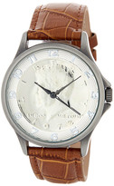 August Steiner Men&s Quartz Croc-Embossed Leather Strap Watch