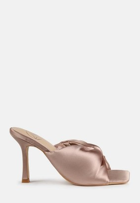 Missguided Champagne Satin Bow Front Square Toe Heeled Mule Sandals