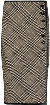 Saint Laurent Check Wool Button-Up Pencil Skirt