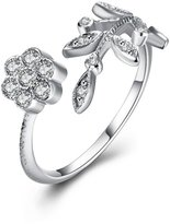 XIEXIE Fine Sterling Silver Flowers, Leaves, Diamond Statement Ring for Women Wedding Party , one