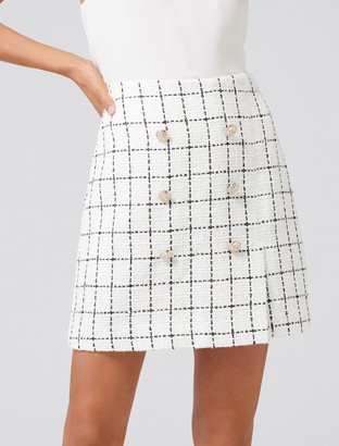 Forever New LouLou Boucle Button Mini Skirt - Windowpane Check - 16