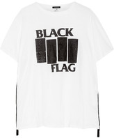 R 13 Black Flag Printed Cotton And Cashmere-blend Jersey T-shirt - Cream