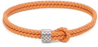 Bottega Veneta Double Intrecciato Woven Leather Bracelet - Mens - Orange