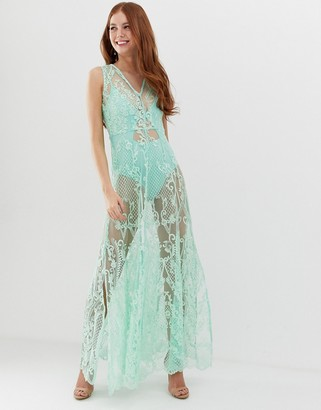 Glamorous maxi dress with sheer overlay and floral embroidery-Blue