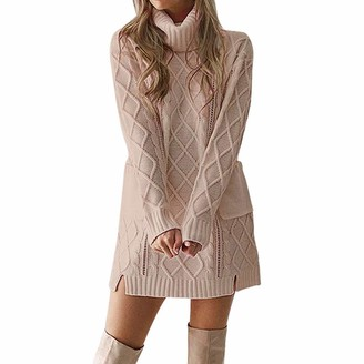 KaloryWee Dresses Women Winter Sweater Knit Turtleneck Warm Long Sleeve Pocket Sexy Mini Dress Khaki
