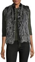 Qi Women's Luisa Vest-100% Rabbit Fur Merino Wool Back