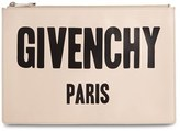 Givenchy Logo Print Calfskin Leather Pouch - Pink