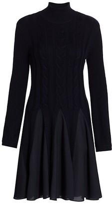 Emporio Armani Pleated Turtleneck Sweater Dress