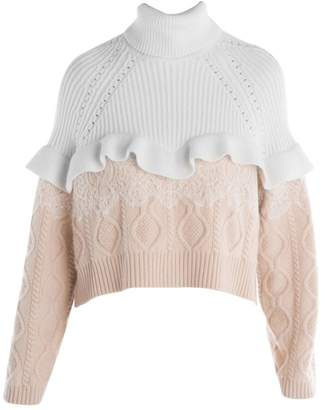 Fendi Ruffle & Lace Cable Knit Turtleneck Sweater