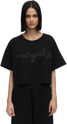 MM6 MAISON MARGIELA Cropped Logo Cotton Jersey T-shirt